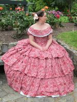 Raspberry swirl 1850s dress thedreamstress.com