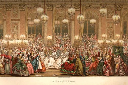 1800 masquerade party with candles dripping sipping punch dancing