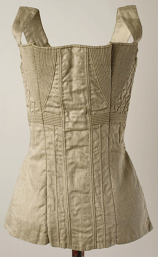 Corset, 1825–50, American or European, cotton, metal, Metropolitan Museum of Art, 1985.153