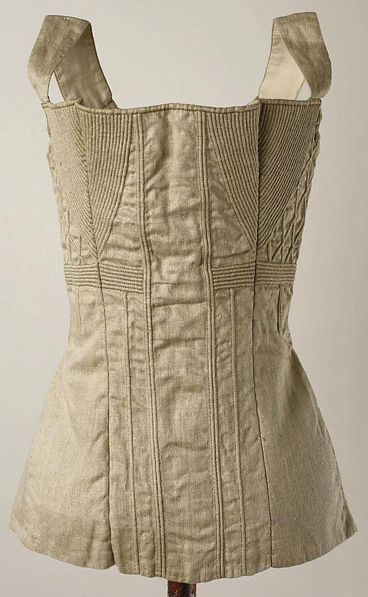 Corset, 1825–50, American or European, cotton, metal, Metropolitan Museum of Art, 1985.153