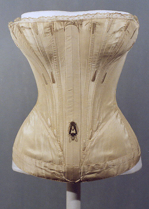 Corset, 1839–41, American or European, silk, Metropolitan Museum of Art, C.I.38.23.10b–d