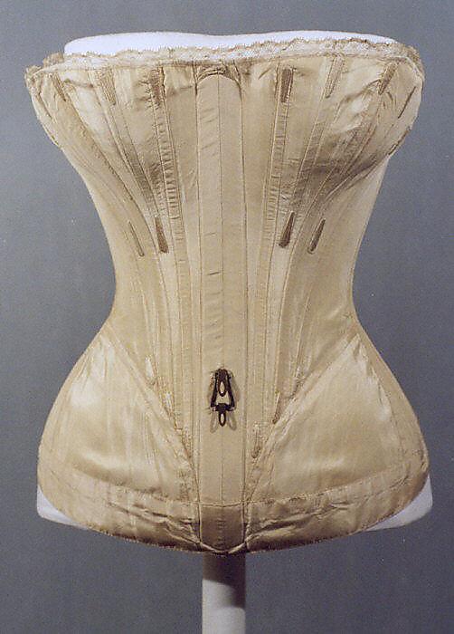 Corset, 1839–41, American or European, silk, Metropolitan Museum of Art, C.I.38.23.10b–d
