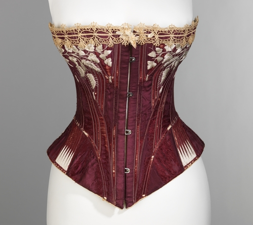 Corset with embroidery of oak leaves and wheat sheaves, 1876, Royal Worcester Corset Company, Metropolitan Museum of Art