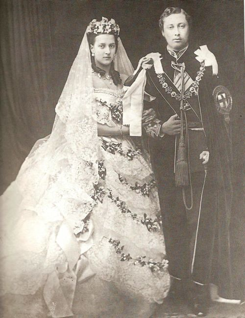 Queen victorias wedding dress the one that started it all the princess alexandra and edward vii on their wedding day junglespirit Images