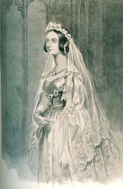 Queen victoria 39 s lace trimmed dress and veil the dreamstress for 19th century wedding dresses