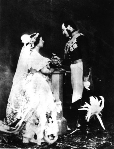 A middle aged Victoria and Albert, the Queen in her re-styled dress