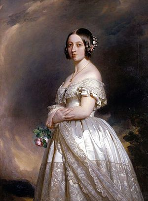 Queen Victoria poses in her wedding dress