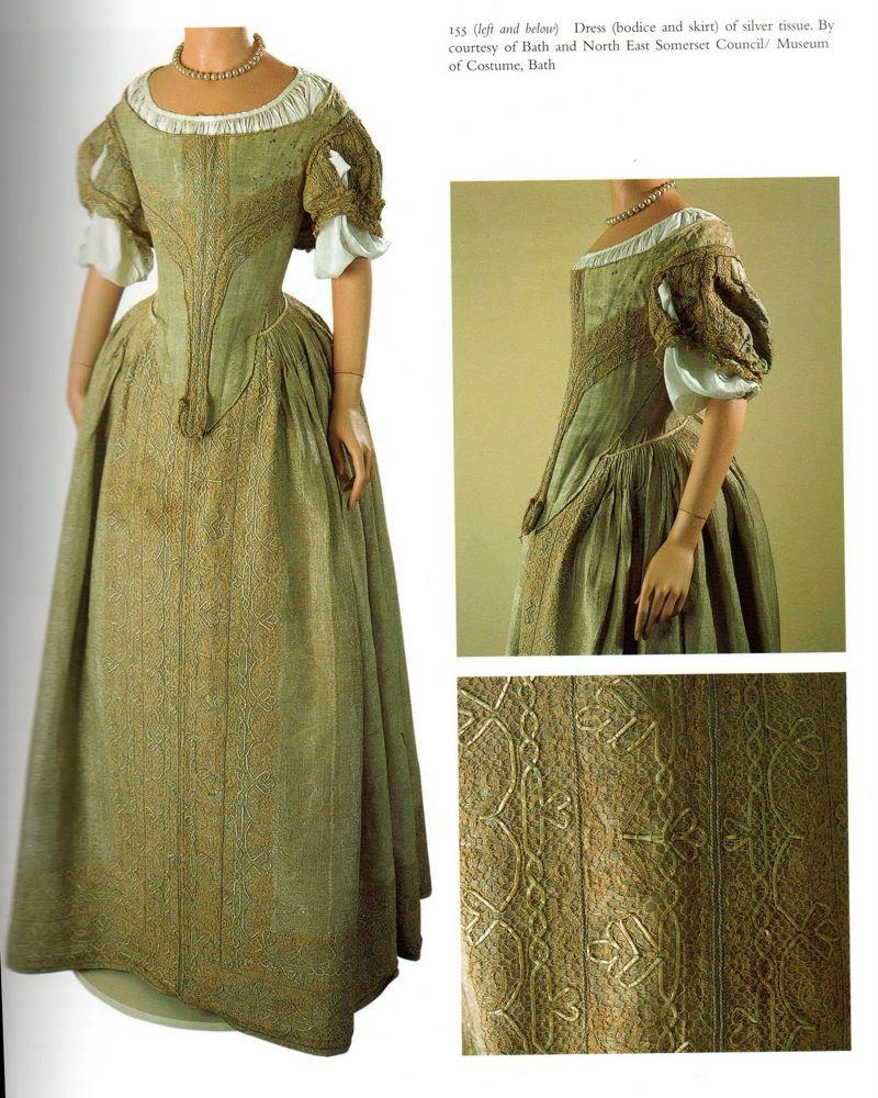 Dress of silver tissue, 1660, Museum of Fashion Bath