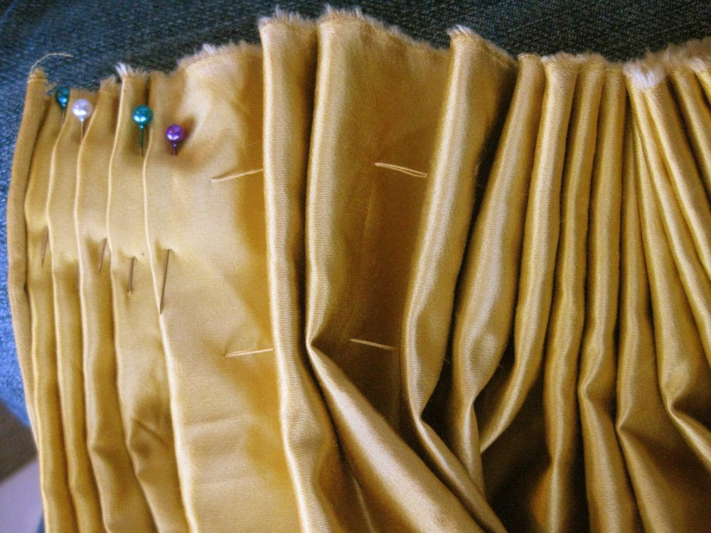 Pushing my cartridge pleats to the side, and pinning them down like knife pleats