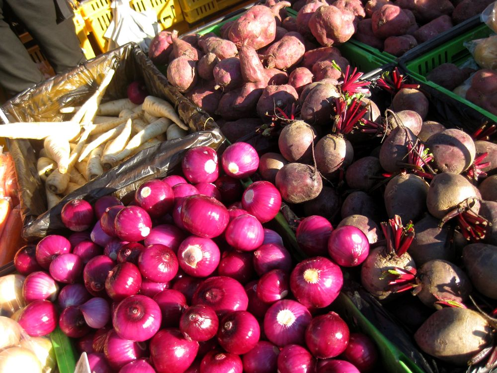Onions and parsnips and kumara (sweet potatoes) and beets