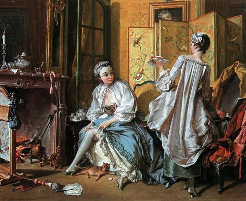 Portraits cachés de Marie-Antoinette et Louis XVI ou images séditieuses  Boucher-La-Toilette-1742-500x409