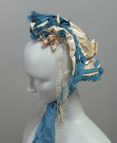 Wedding bonnet, American, 1860s, silk, MFA Boston, 47.1519
