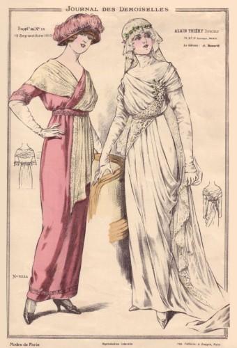 Bride & bridesmaid in rosy pink, 1913, Demoiselles