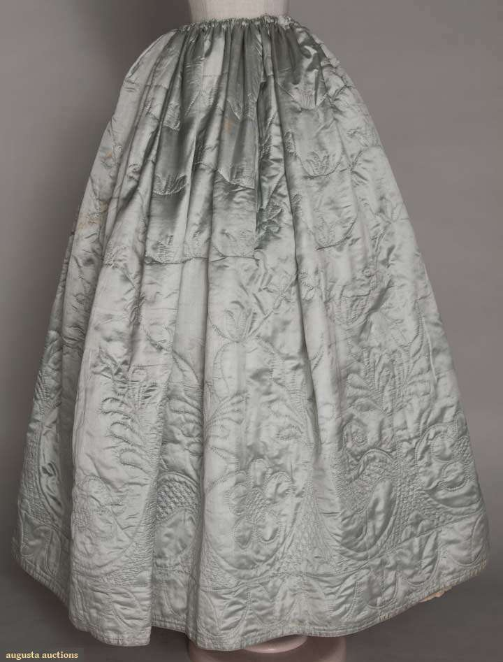 Quilted petticoat, 1770-1780s,  silk satin with cream calamanco lining, Augusta Auctions