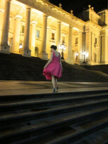 Theresa on the steps of Parliament after the Setzer show
