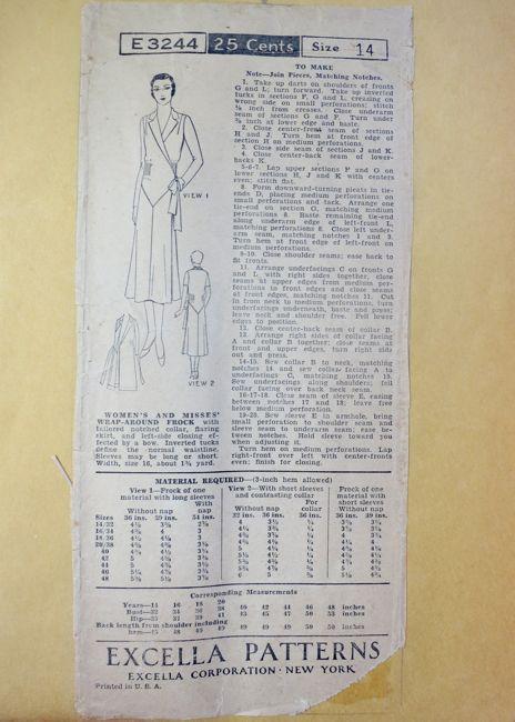 Excella E3244 late 1920s wrap dress