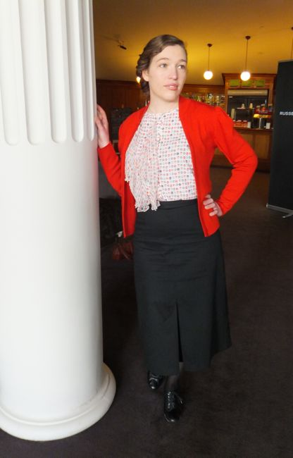 A me-made skirt with a too-fabulous to not wear modern top, and vintage-ish sweater by NZ knitwear company Insidious Fix