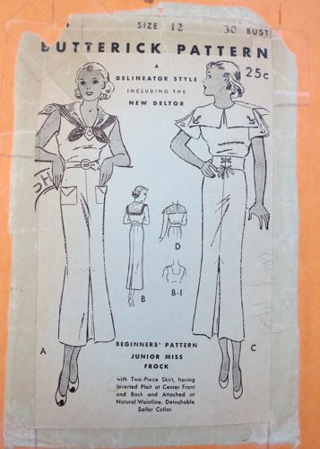 Butterick 5654, 1930s nautical inspired pattern