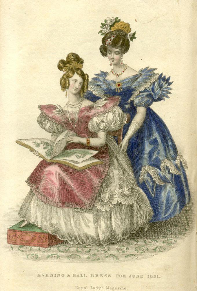 Dress of white aerophane crape and satin, over a rich white satin slip, Royal Ladies Magazine, June 1831, via Koshka the Cat