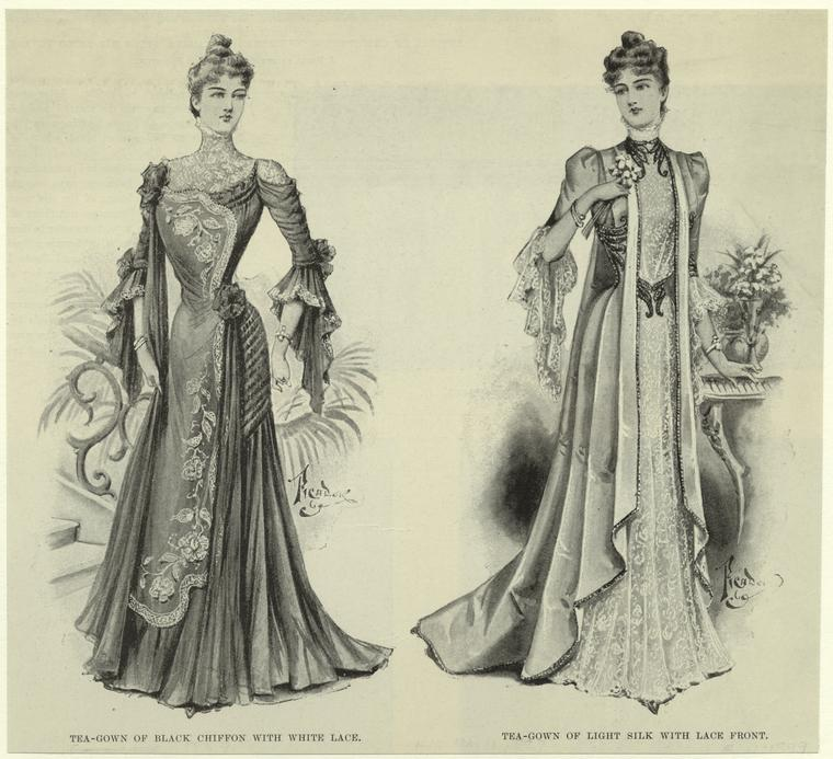Tea-gown of light silk with lace front (on the right). (1899) via the NYPL digital gallery