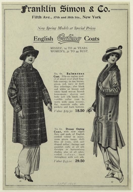 English outing coats including a Balmacaan, 1914.  Note the contrast of simplicity vs. elaboration with the two coats. Via the NYPL Digital Galleries