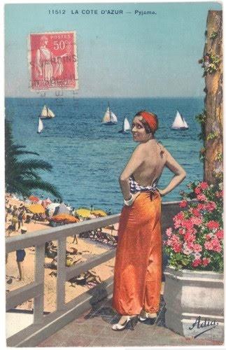 Beach pyjamas on the Cote D'Azure, colourized postcard, 1930s