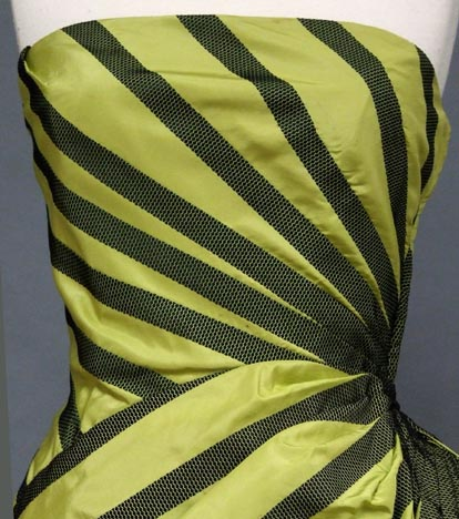 Striped taffeta and black satin evening gown, Helena Barieri, 1950s, via Vintageous