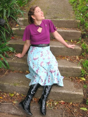 1940s inspired hack of Blank Canvas T, Butterick 8044 skirt