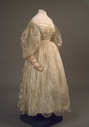 Evening dress trimmed with blonde lace, St Petersburg, Russia. 1830s.  Hermitage Museum