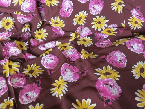 1940s rayon floral fabric