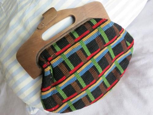 1940s wood and tapestry handbag