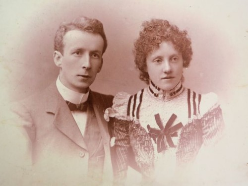 "ca. 1900 couple ""With Compliments from May Taylor and Alick Copland"""