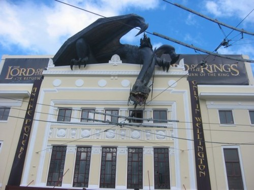 Scary thingies on the Embassy movie theatre, where The Return of the King premiered