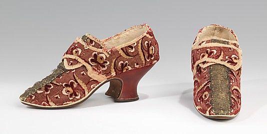 Shoes, 1732–59, British, silk, leather, metal, Metropolitan Museum of Art