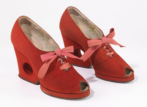 Shoes, Delman, 1937–39, American, leather, silk, Metropolitan Museum of Art