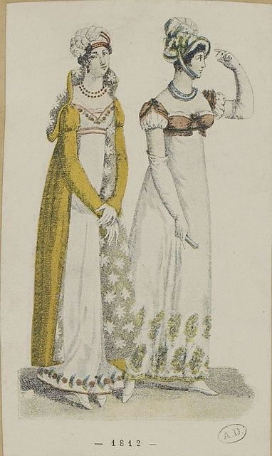Fashion plate featuring a dress made from Kashmiri shawls (right), 1812