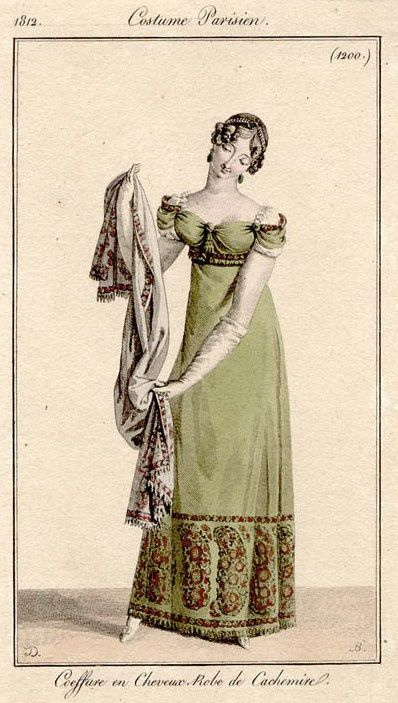 Fashion plate featuring a dress made of Kashmiri shawls, 1812