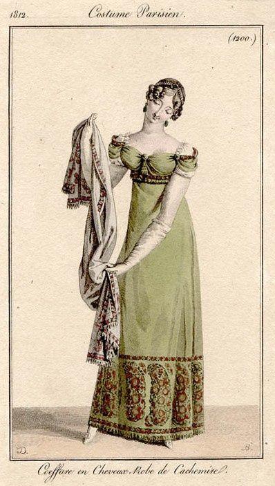 Fashion plate featuring a dress made of Kashmiri shawls, 1812