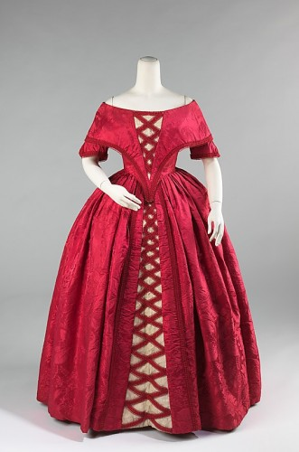 Ball gown, ca. 1842 (fabric 1740s), British, silk, cotton, Metropolitan Museum of Art
