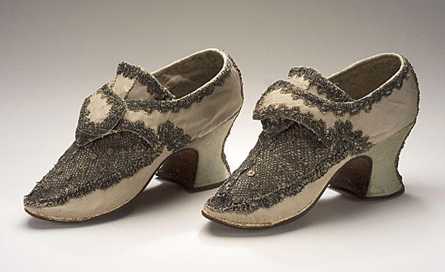 Pair of Woman's Shoes, circa 1700-1715, Silver lace, metal sequins, silk satin, leather, LACMA