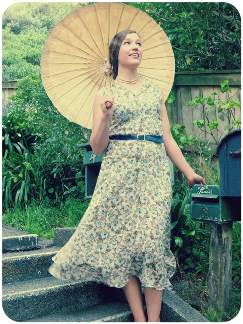 'Grans Garden' reproduction 1930 dress in modern viscose