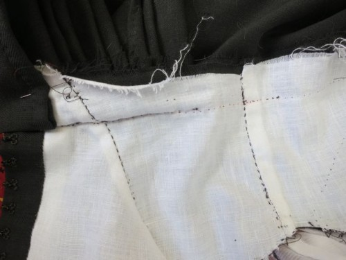 The skirt-to-bodice seam from the inside