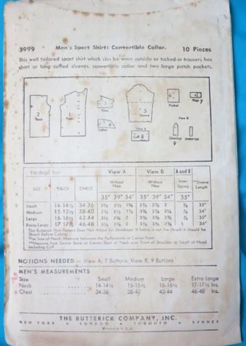 Butterick 3999 - sports shirt with convertible collar
