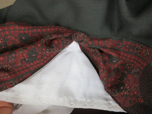 The bodice front, with silk panel and wool drapes