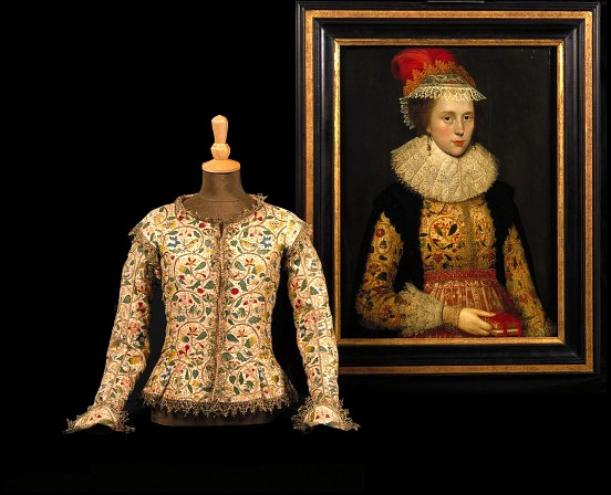 Jacket,  English, 1610-1615 (made),  1620 (altered),  Linen, embroidered with coloured silks, silver and silver-gilt thread, V&A