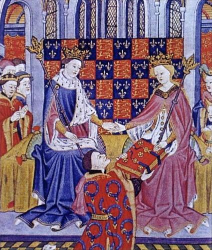 John Talbot, 1st Earl of Shrewsbury, presents the Book of Romances (Shrewsbury Book) to Margaret of Anjou, wife of King Henry VI, circa 1445 by the Talbot Master