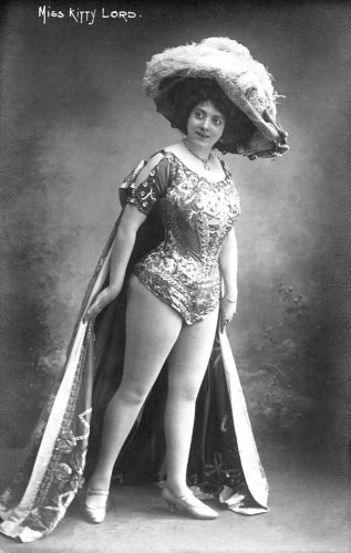 Actress Miss Kitty Lord (who may or may not be wearing symmetricals) shows off her seductively rounded thighs