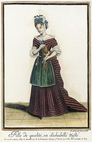 Recueil des modes de la cour de France, 'Fille de Qualité, en d'Eshabillé d'Esté' Nicolas Arnoult 1687, LACMA