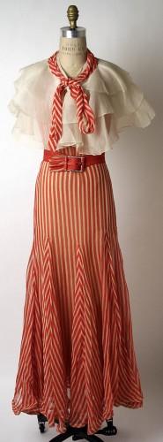 Striped evening ensemble (dress, belt, cape, slip) by Norman Norell for Hattie Carnegie, Inc., American, 1932, Metropolitan Museum of Art