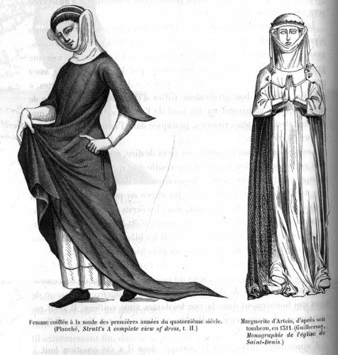 Two examples of women's dress in the early 1300s, on the right is Margurite d'Artois from her tomb carving, 1311